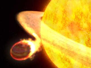 En kunstners illustration af planeten Wasp-12b, der er ved at blive opslugt af sin stjerne.
