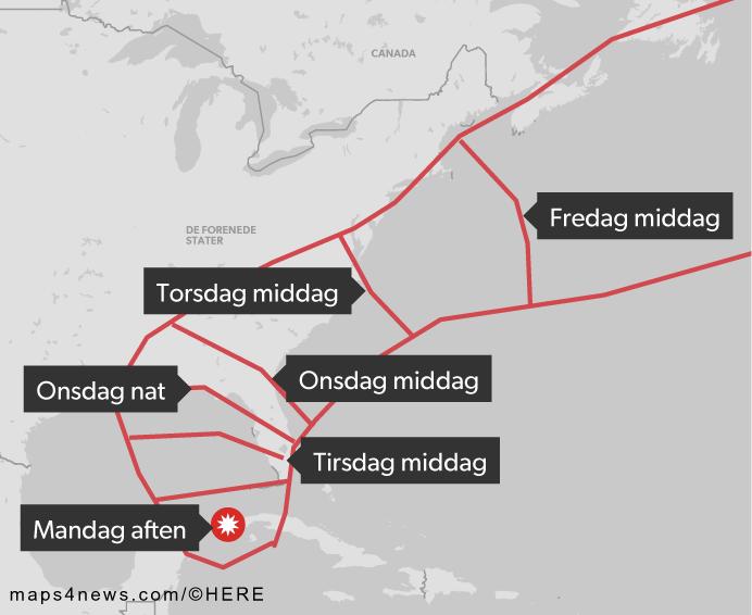 'Michael' har lige nu kurs mod staterne North Carolina og South Carolina. © DR
