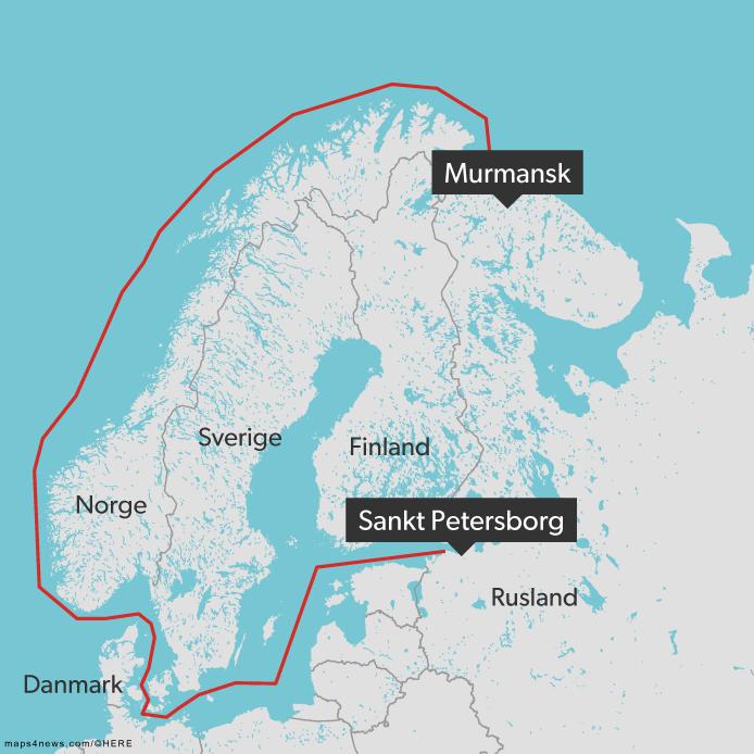 Akademik Lomonosovs rute fra Sankt Peterbrog til Murmansk.