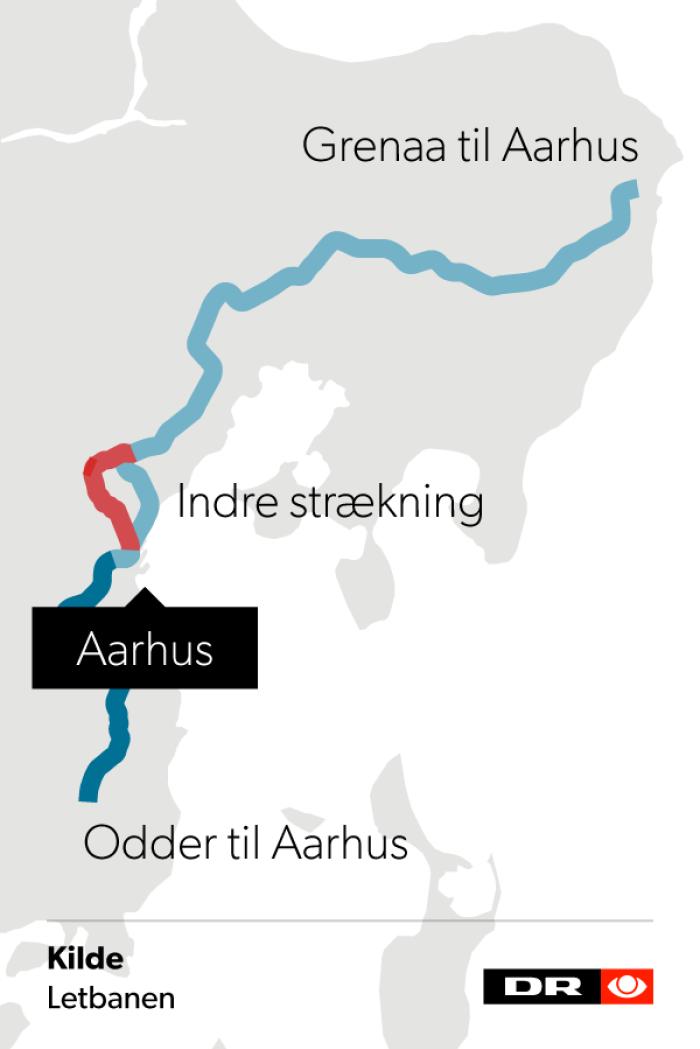 Det er denne strækning, hvor man har planlagt letbanen i Aarhus.
