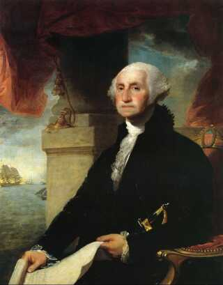 En ældre George Washington to år før hans død. (Maleri af Gilbert Stuart, 1797)
