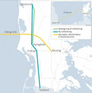 Lidt nord for Esbjerg på Jyllands vestkyst skal det 750 kilometer lange kabel forbindes med højspændingsledninger, som samtidig leder strøm til Tyskland. (Foto: Klimaministeriet)