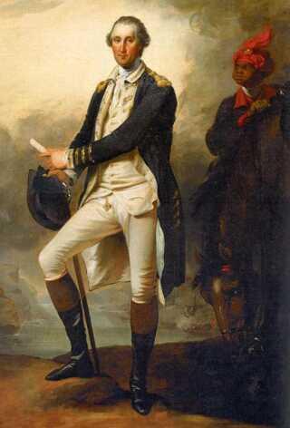 George Washington og hans slave William Lee. (Maleri af John Trumbull, 1780)