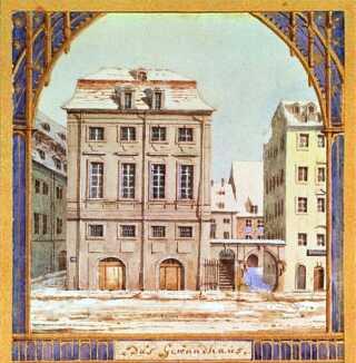 Komponisten Felix Mendelsohn lavede selv denne akvarel af Gewandthaus, som Niels W. Gade overtog ledelsen af efter ham.