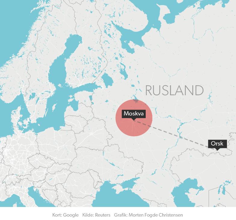 Det styrtede fly skulle fra Moskva til byen Orsk.