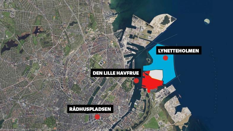 Grafik, der viser Lynetteholmens placering i Københavns Havn.