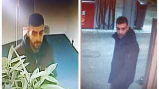 Overvågningsbilledet til venstre er fra bankrøveriet i dag i Ringsted. Billedet til højre er fra en tank i Birkerød, hvor der skete et økseangreb i weekenden.