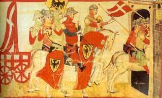 Danskerne var ikke ene om den røde dug med det hvide kors. På billedet ses den tysk-romerske kejser Frederik den 2. under et slag i 1237 med et flag der ligner Dannebrog.