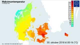 Her er det foreløbige temperaturkort fra DMI. Her ses hvordan den varme luft fik et godt tag i den sydøstlige del af landet, mens temperaturerne var noget mere 'forkølede' mod nordvest. Kilde: DMI