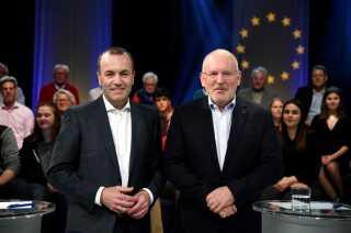Her ses de to spidskandidater for henholdsvis den konservative og den socialdemokratiske partifamilie, Manfred Weber og Frans Timmermans.