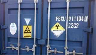 Containeren er mærket rigtigt af, men den er ikke aflåst, som den bør være.