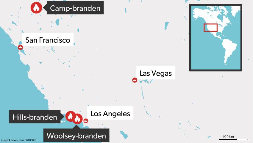 Tre større brande hærger lige nu i Californien.