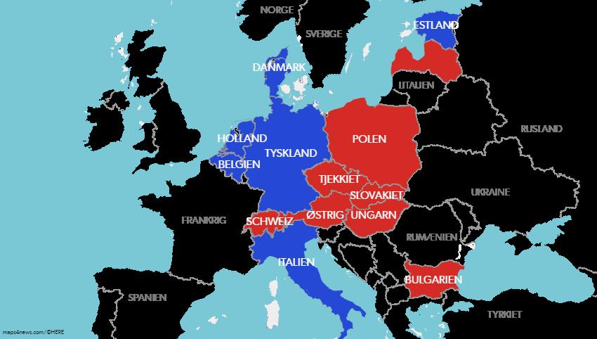 Migrationspagten er kontroversiel, også i Europa. De røde lande på kortet vil slet ikke med. I de blå har der været heftig debat.
