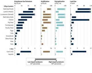 Grafen viser miljø- og klimapåvirkningen fra ni animalske produkter og seks grøntsager. Den er baseret på tal fra 9.000 landbug verden over.