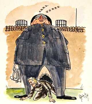Selvportræt af Lorentzen fra 1954 som flygter gennem benene på en sovende betjent.