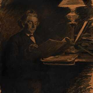 I lampens skær: Niels W. Gade portrætteret af P.S. Krøyer i 1882.