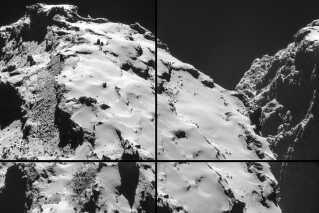 Billedet er sammensat af fire billeder, som Rosettas navigationskamera har taget den 28. oktober 2014 i en afstand af 9,7 km fra centrum af kometen, 67P/Churyumov-Gerasimenko, cirka 7,7 km fra overfladen.