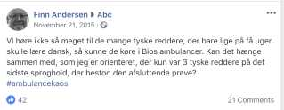 Et eksempel på et opslag, Finn Andersen lagde ud i facebook-gruppen 'Nej til ambulancekaos' , der på det tidspunkt havde ændret navn til 'abc'.