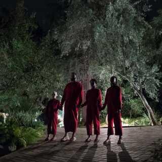'Us' handler om en familie, der en aften bliver forstyrret af fire mennesker, der ligner dem selv på en prik, bortset fra at de alle bærer rød kedeldragt – og er ualmindeligt uhyggelige, skriver Per Juul Carlsen.