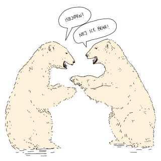 Chris Paton kan godt finde på at snige lidt 'danglish' ind for at få det til at se ud som om, bøgerne er oversat fra dansk. I en af dem er isbjørn for eksempel blevet til 'ice bear' i stedet for det korrekte 'polar bear'.