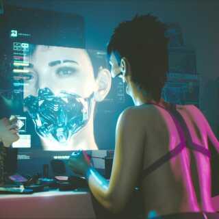 'Cyberpunk 2077 foregår i fremtiden, hvor det er muligt at lave radikalt om på sig selv ved hjælp af teknologi. Her ses en kvinde i færd med at ændre sit ansigt.