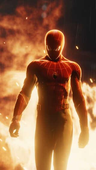 """Ligesom på et kamera kan man ændre brændvidden og """"trække"""" baggrunden tættere på. Det har jeg brugt her for at gøre flammerne i baggrunden større, fortæller Rasmus Furbo. (Spil: Marvel's Spider-Man)"""