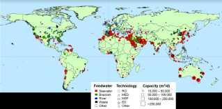 Fire lande i mellemøsten producerer cirka halvdelen af den samlede brine-produktion. Her er et kort over afsaltningsanlæg i verden.