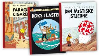 Her ses nogle af de populære Tintin-album. Faktisk findes der en dansk butik, der har taget navn efter 'Faraos Cigarer'.