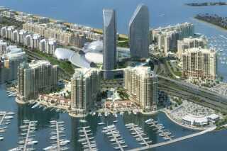 Havnelejlighederne på den kunstige ø, The Palm Jumeirah, i Dubai, hvor mistænkte angiveligt bor.