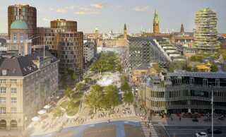 Sådan forestiller arkitekterne sig, at Tivoli Bypark vil kunne se ud på en lukket Vesterbrogade.