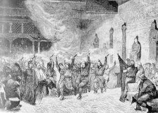 Vikingerne markerede flere højtider i løbet af året, som primært var knyttet til årets gang. Jól var én af dem. På billedet ses en gengivelse af en vikingefest.