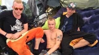I starten var de 28 i Camp Fuld På. Nu er de kun tre tilbage. Fra venstre: Mathias Wedell, Emil Jespersen og Jonatan Damlund.