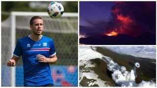 Islands bedste fodboldspiller Gylfi Sigurdsson til træning under EM-slutrunden i Frankrig akkompagneret af billeder af den islandske vulkan Hekla.