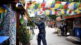 Politiet rydder Pusher Street den 17 juni 2016.