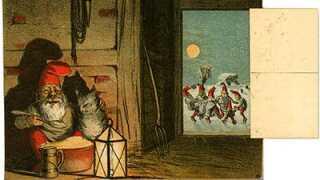 Tegneren Carsten Ravn lavede mange billeder med julenissen omkring år 1900.