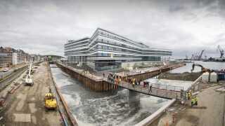 Der bliver ikke kun opført bygninger til beboelse på Aarhus Ø. Her ses den såkaldte Navitas-bygning, som blandt andet huser ingeniørstuderende.