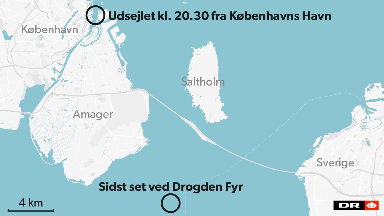 Et krydstogtskib skulle have set 'Nautilus' sejle ud af Københavns havn klokken 20.30 i aftes, og ubåden er muligvis set ved Drogden Fyr.