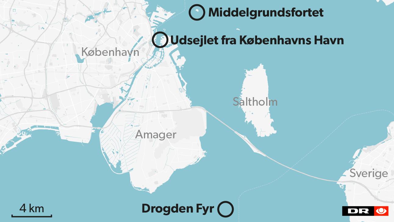 Eftersøgningen af 'Nautilus' er her til formiddag koncentreret omkring Middelgrundsfortet.