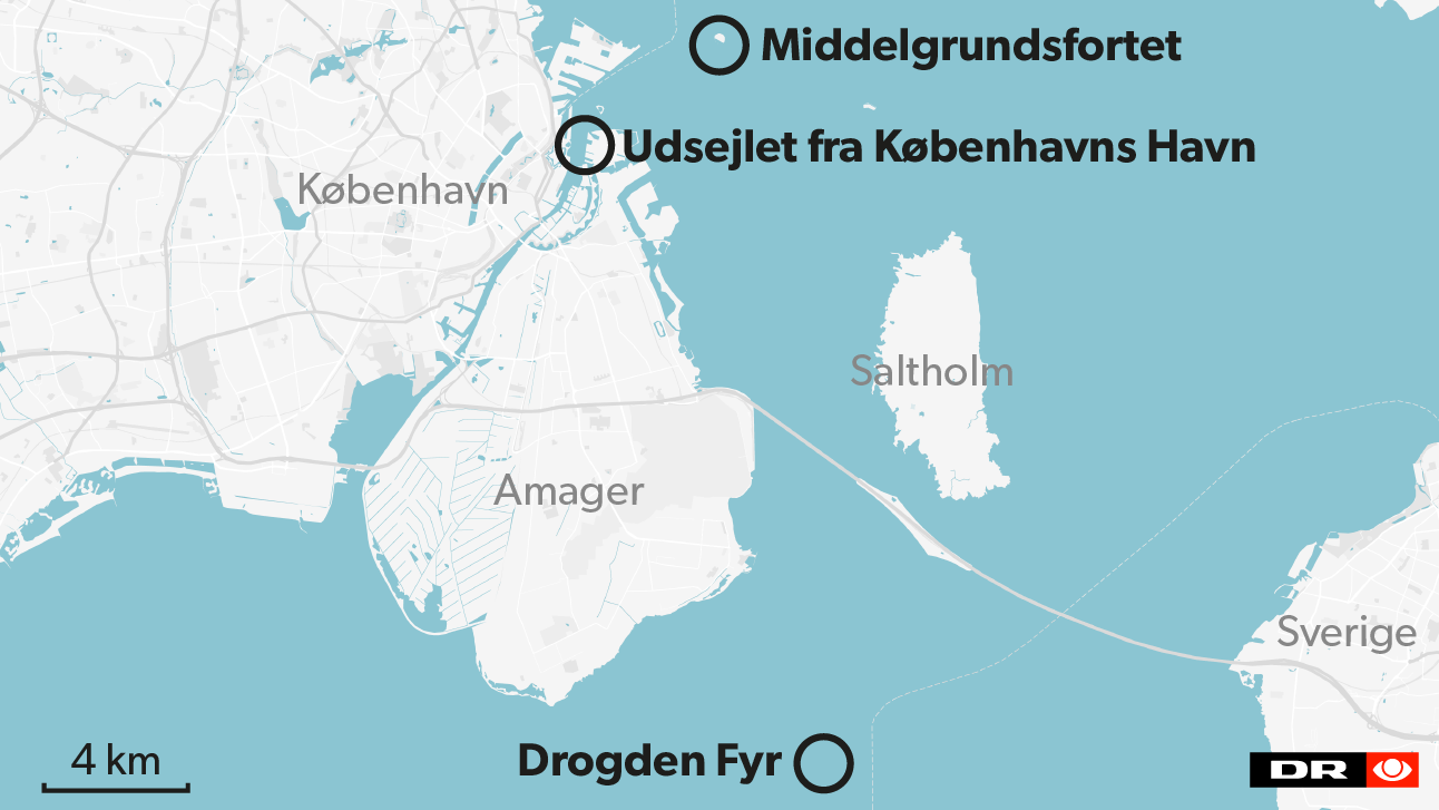 Ubåden 'Nautilus' blev set sejle ud af Københavns Havn klokken 20.30 i går og sank her til formiddag ved Drogden Fyr.