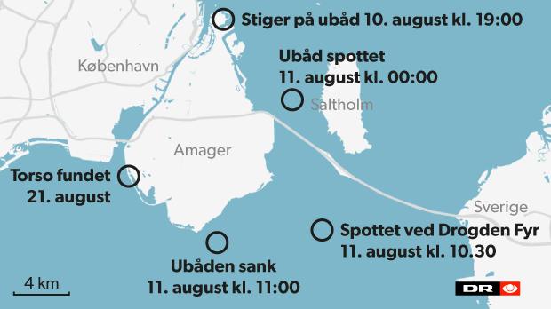 Her er de steder, der er centrale i efterforskningen af, hvad der skete natten til fredag ombord på Peter Madsens ubåd.