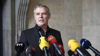 Drabschef Jens Møller Jensen præsenterede de nye oplysninger i ubådssagen på et pressemøde foran politigården.
