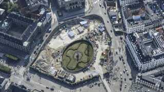 Kongens Nytorv, luftfoto af byggepladsen i september 2017.