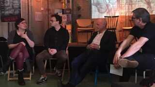 Marie Knudsen Fogh, Martin Nyborg og Jens Christian Led talte med Jørgen Dissing om 'Porno for begyndere' på litteraturfestivalen Ordkraft i Aalborg forleden.