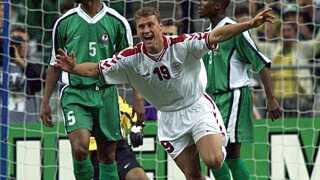 Ebbe Sand nåede kun at være på banen i få sekunder i ottendedelsfinalen ved VM i 1998 mod Nigeria, før han havde øget Danmarks føring til 3-0.