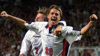 Michael Owen jubler efter sit fantastiske mål mod Argentina ved VM i 1998.