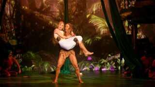 Der er mange forskellige musicals landet over lige nu. Billedet her er fra musicalen 'Tarzan' på Fredericia Teater.