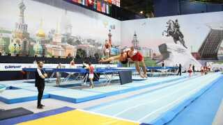 Adam Scharf Matthiesen under VM i Rusland. Foto: Dansk Gymnastik Forbund