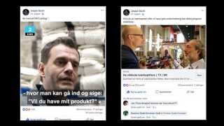 Iværksætteren Jesper Buchs deling af Maria Elbrønds video til venstre, og hans deling af linket til programmet på DRTV til højre.