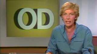 Nina Munch-Perrins mor, Lone Zilstorff, havde premiere på TV-Avisen den 2. juli 1986. Foto: Screendump
