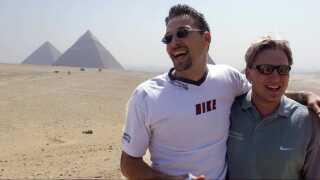 Morten Bjerre og Nikolaj Jacobsen under den famøse træningstur til Egypten forud for VM i 1999.